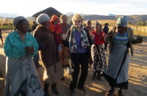 Enjoying a boogie with the women of the Itekeng Drop-in Centre.
